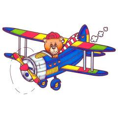 Comic Teddy im Flugzeug
