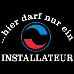 Installateur-Navy Blau-Sprüche Arbeit, Einbauer, Beruf