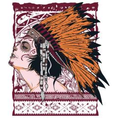 Beauty Indianer Girl Tattoo Kopfschmuck