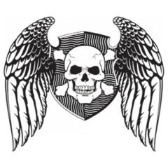 Biker Wappen Schädel Flügel