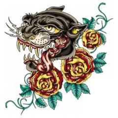 Panther und Rosen im Tattoo Style