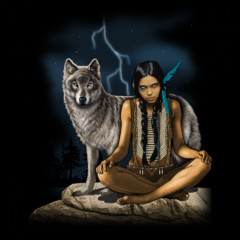 Indianerin mit Wolf mystisch