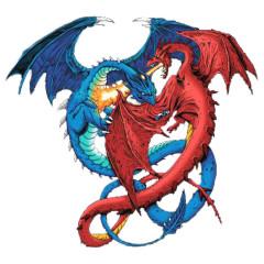 Fantasy Motiv: Kämpfende Drachen