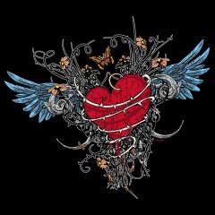 Geflügeltes Herz in Ketten