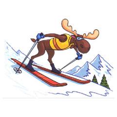 Elch auf Skiern