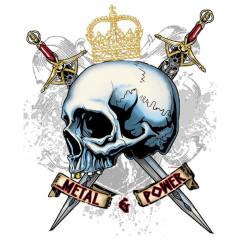 Metal & Power - Totenkopf mit 2 Schwertern