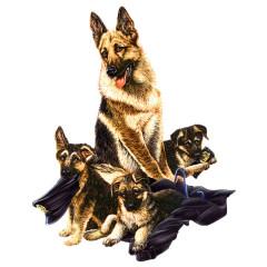 Hunde Motiv: Deutscher Schäferhund mit Welpen