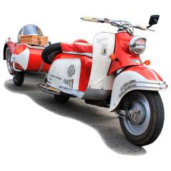 Berliner Roller mit Hänger rot/weiß