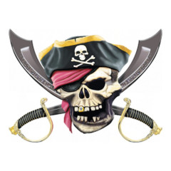 Jolly Roger - Piraten Totenkopf mit Säbeln