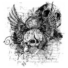 Geflügelter Totenkopf, Skull Gothic