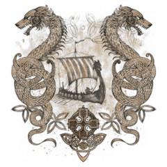 Wikinger Drachenboot mit Lindwürmern