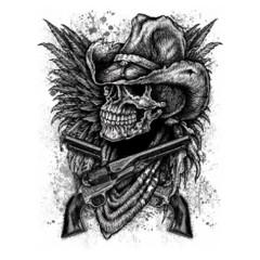 Skull Cowboy Guns Wings Shirtmotiv