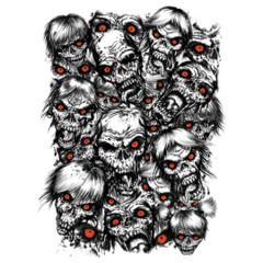 Zombieköpfe mit glühenden Augen