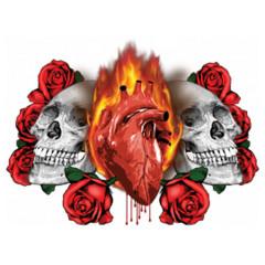 Schädel und brennendes Herz
