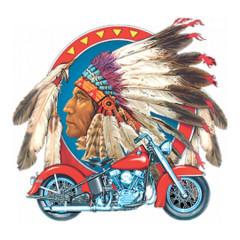 Indianerkopf mit Motorrad