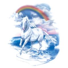 Pferd am Strand im Regenbogen